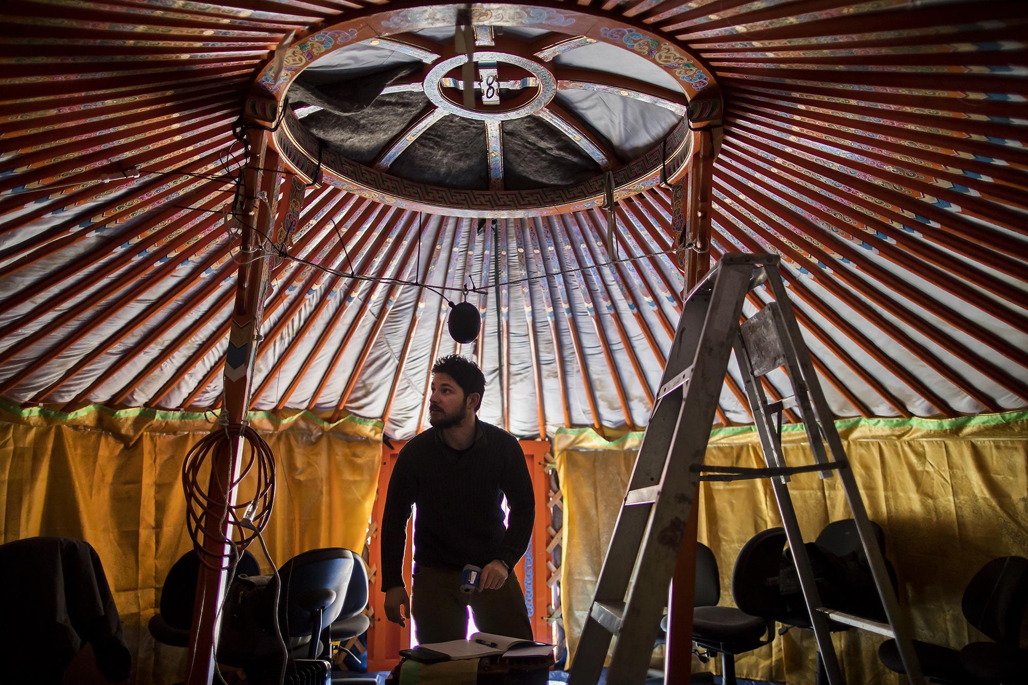 Making Mongolian ger dwellings...