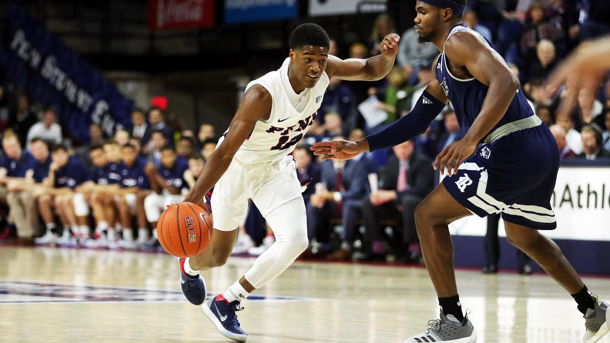 Men's basketball team rolls over Lafayette | Penn Today
