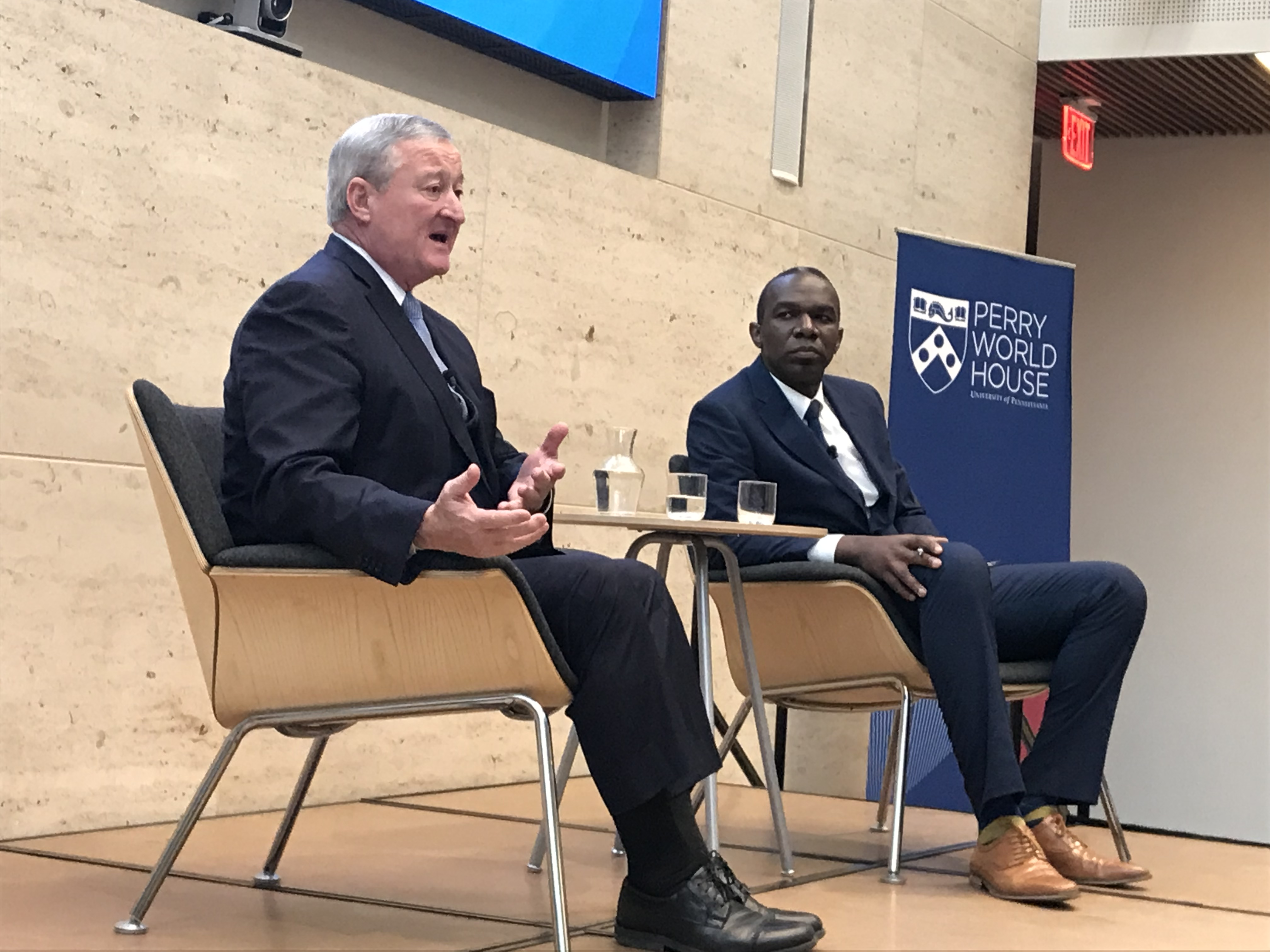 """Mayor Jim Kenney addresses the audience during his conversation with Sozi Tulante during """"Fearless at the Forefront: Philadelphia's Local Response to Shifting Immigration Policy"""" conversation on Nov. 14."""