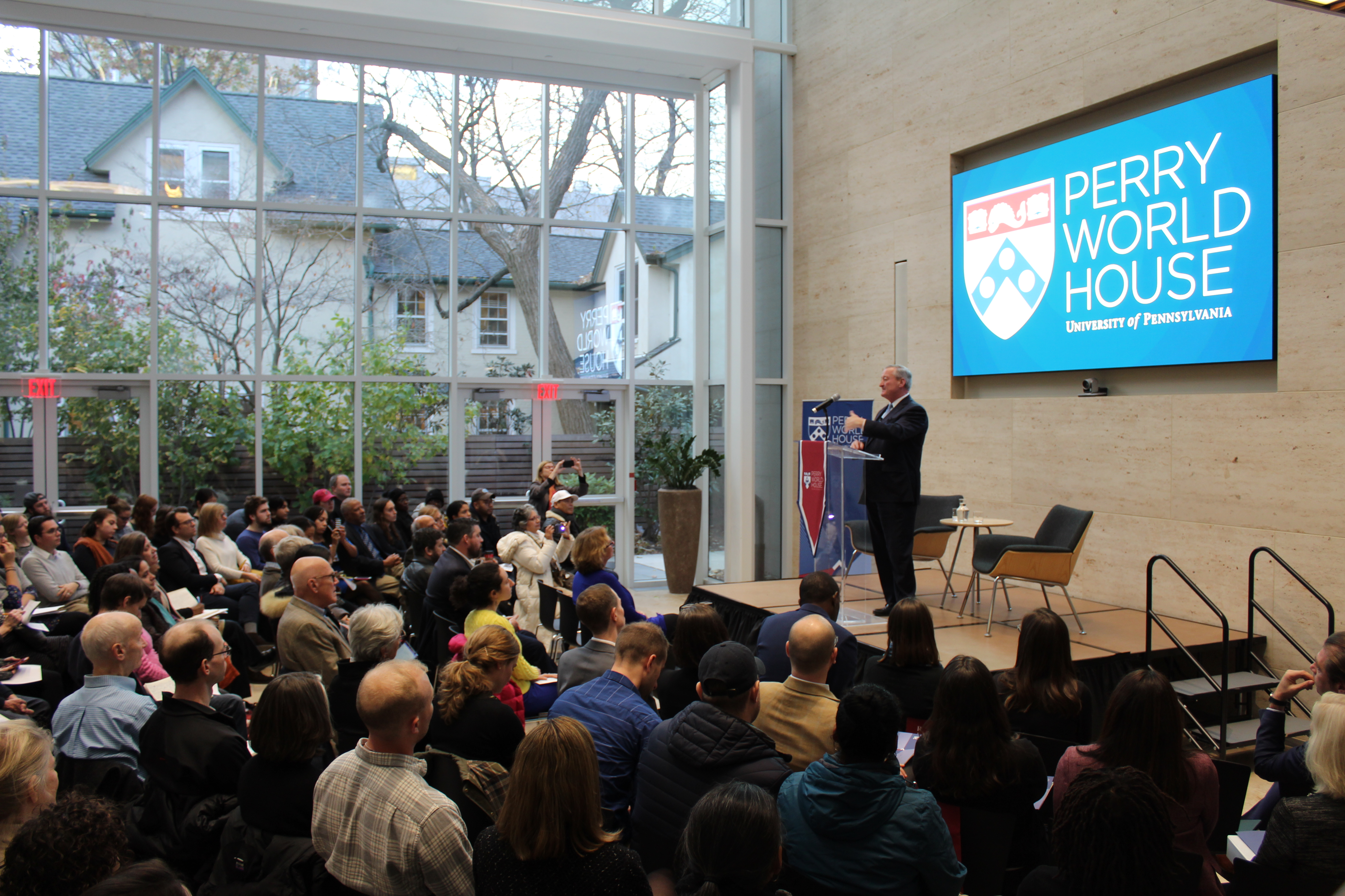 Philadelphia Mayor Kenney speaks on immigration to a packed house in the Global Forum at Perry World House.