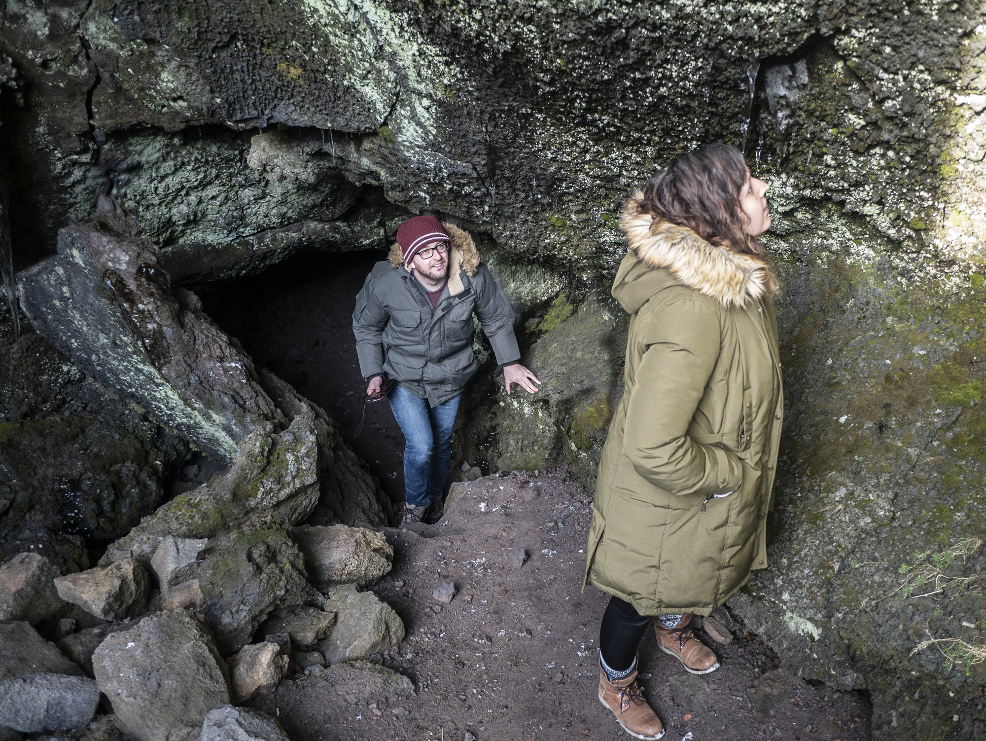 zane cooper emerging from an Icelandic cave