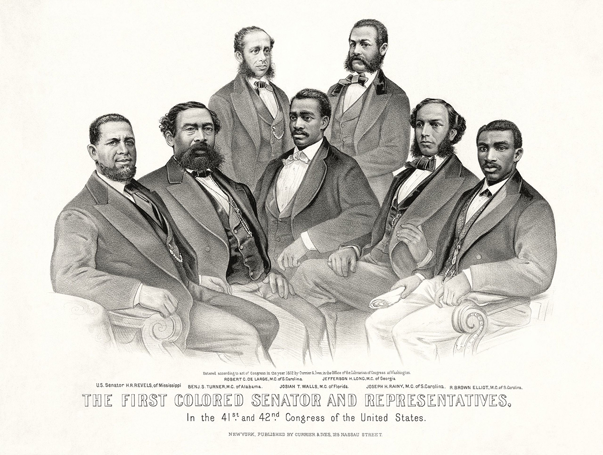 Historical rendering of a portrait of the first African American senator and Represenatives