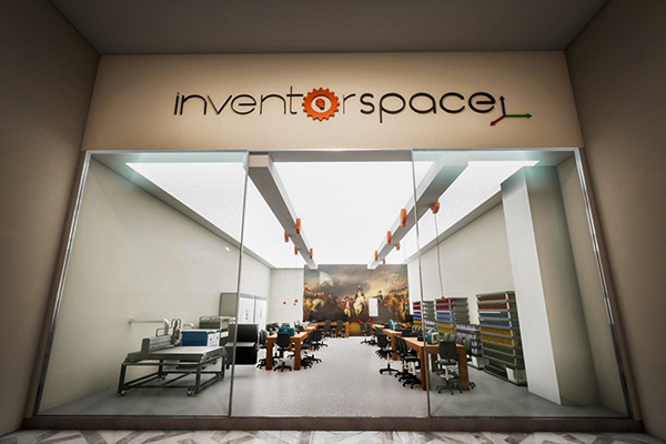 computer-rendered image of inventorspace with desks and chairs for students to work