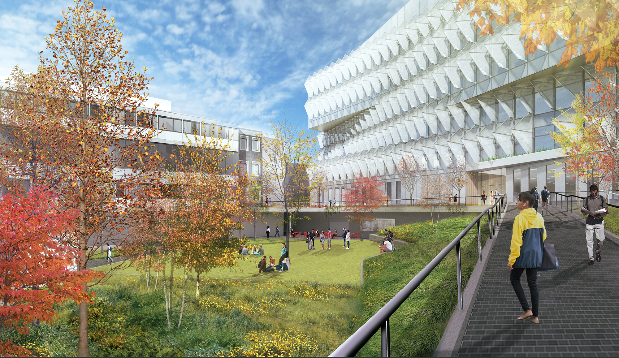 Architectural rendering of the back of the new Vagelos building and a large greenspace courtyard with trees.