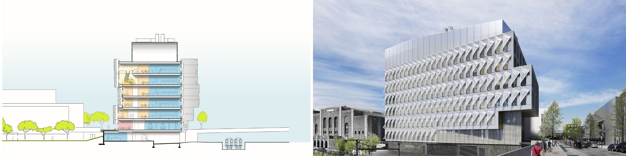 Side by side of architectural drawings of the new Vagelos building with interior and exterior views.