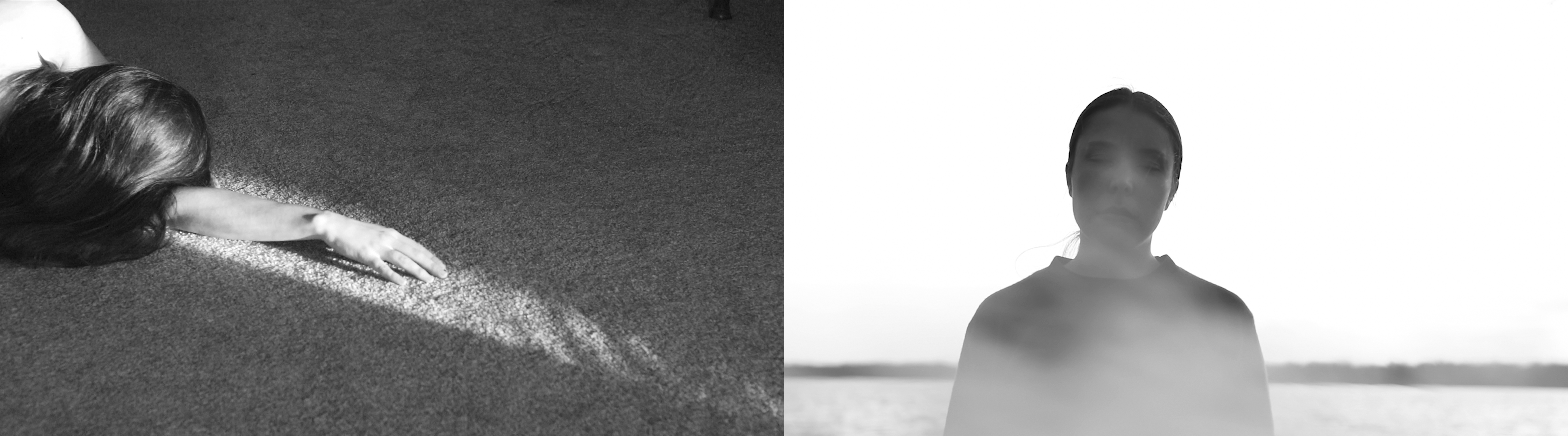 Two black and white photos side by side by MFA student Amrita Stützle.