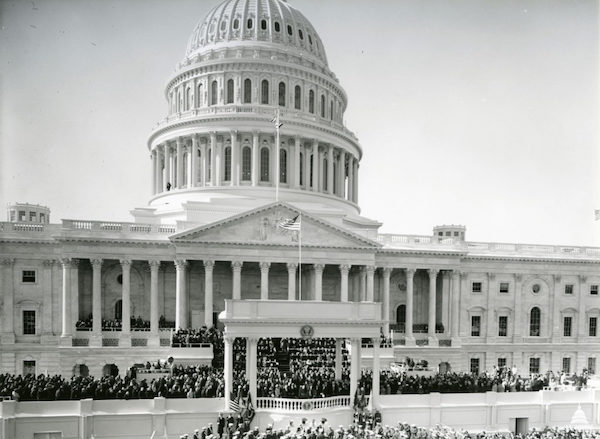 Image of the United States Capitol during John F. Kennedy's inauguration in 1961.