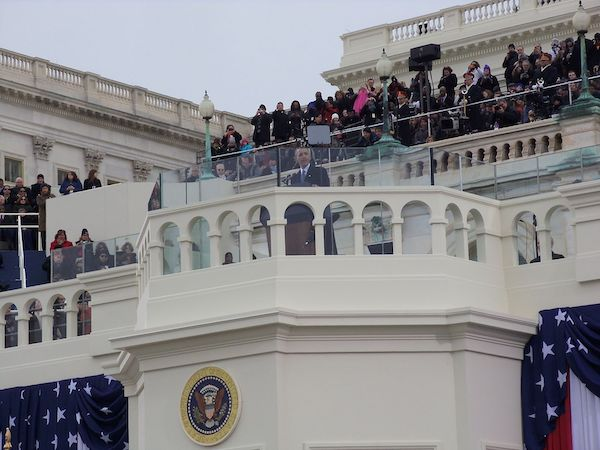 Barack Obama gives his 2013 inaugural speech in front of the U.S. Capitol