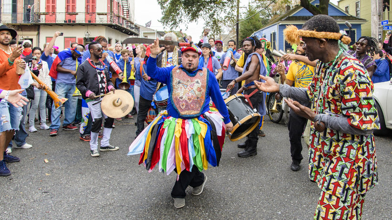 Drums and colorful costumes in the street