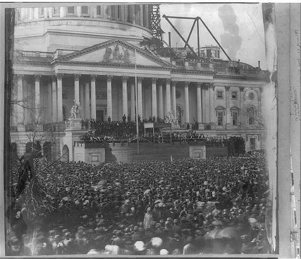 Crowds fill the area near the U.S. Capitol in 1861 during Abraham Lincoln's inauguration.