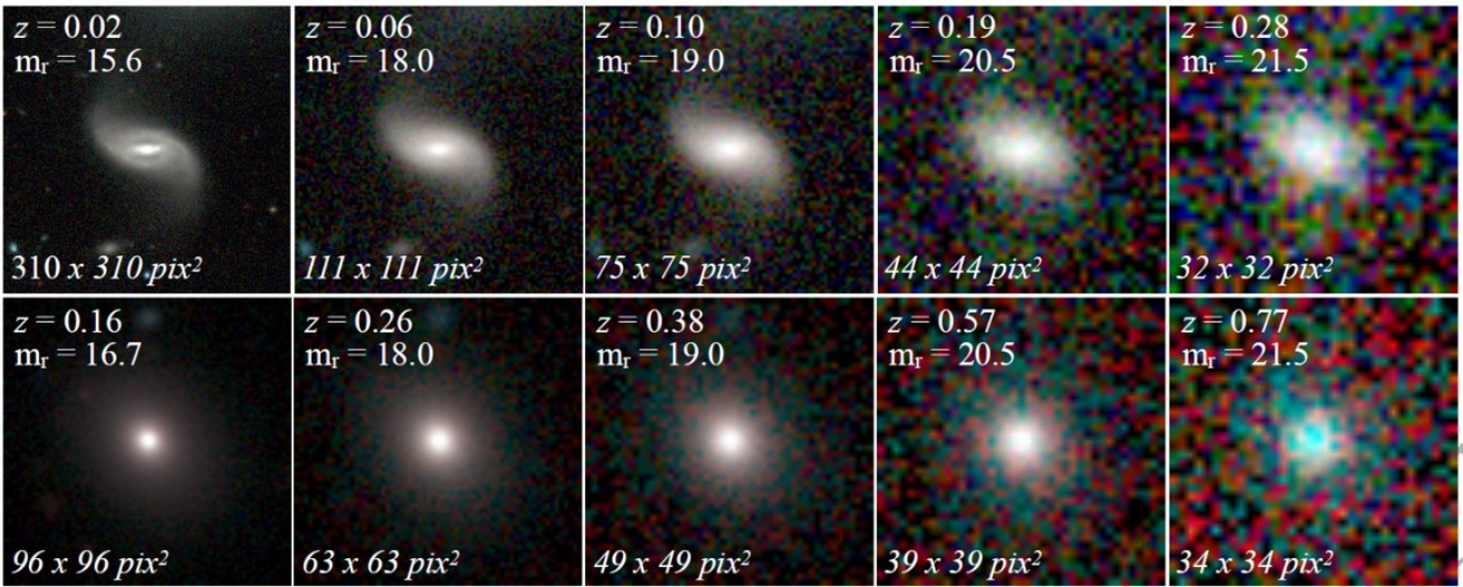 a series of images of a spiral and elliptical galaxy with different levels of pixelation