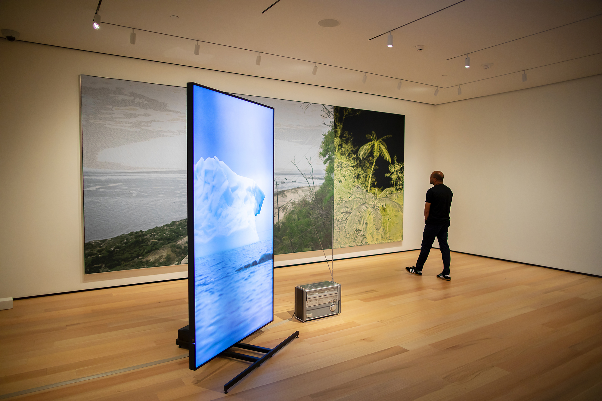 Artist standing in gallery looking at his installation