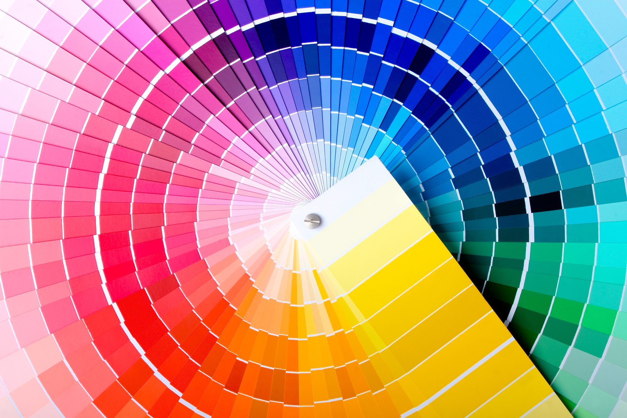 fanned out color sample sheets depicting a rainbow of shades
