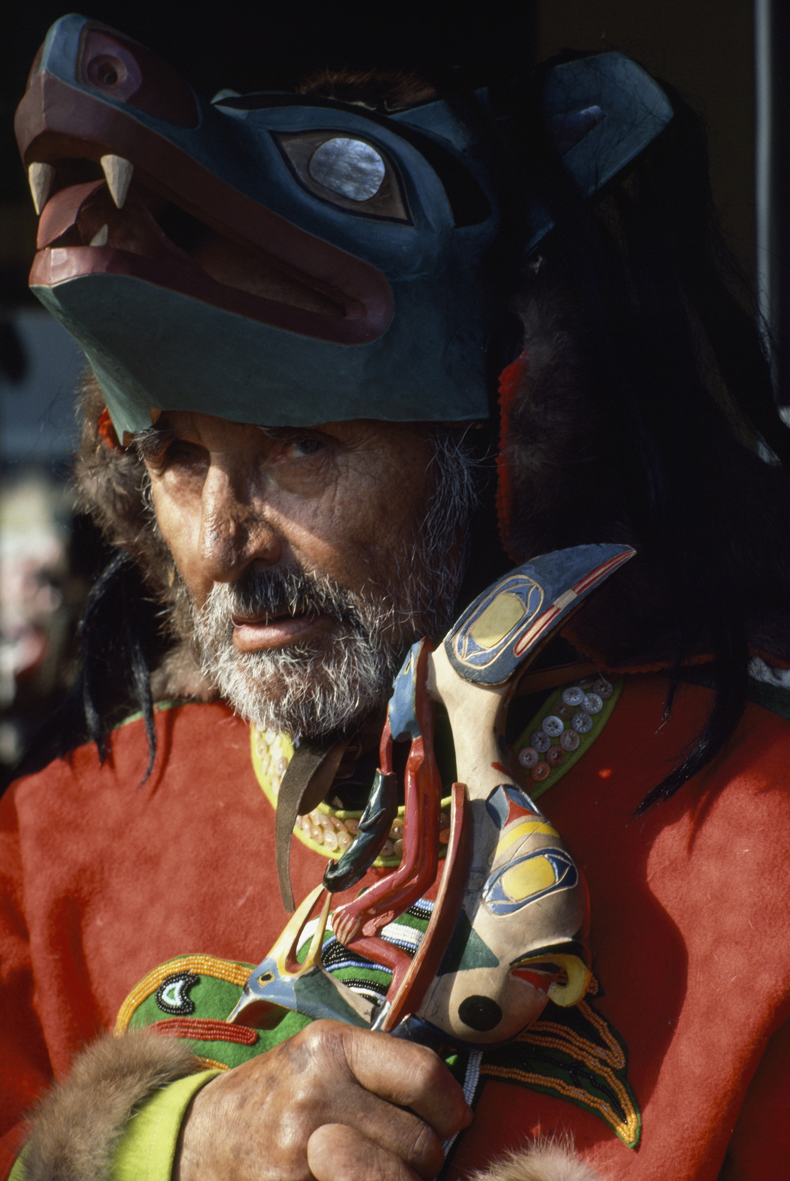 A Tlingit leader wears a traditional wolf headdress. (Photo: James L. Stanfield/National Geographic)