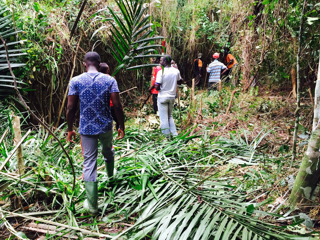 Villagers and TBCA staff help clear land for the school and clinic.