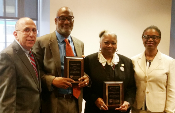 Ira Harkavy, Herman Beavers, Vernoca Michael and Anita Allen, the vice provost for faculty at Penn.