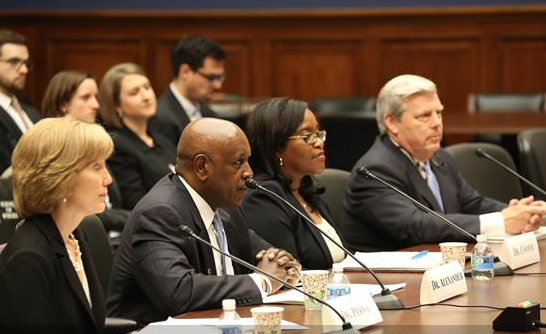 """Laura Perna testifies at the """"Improving College Access and Completion for Low-Income and First-Generation Students"""" hearing."""