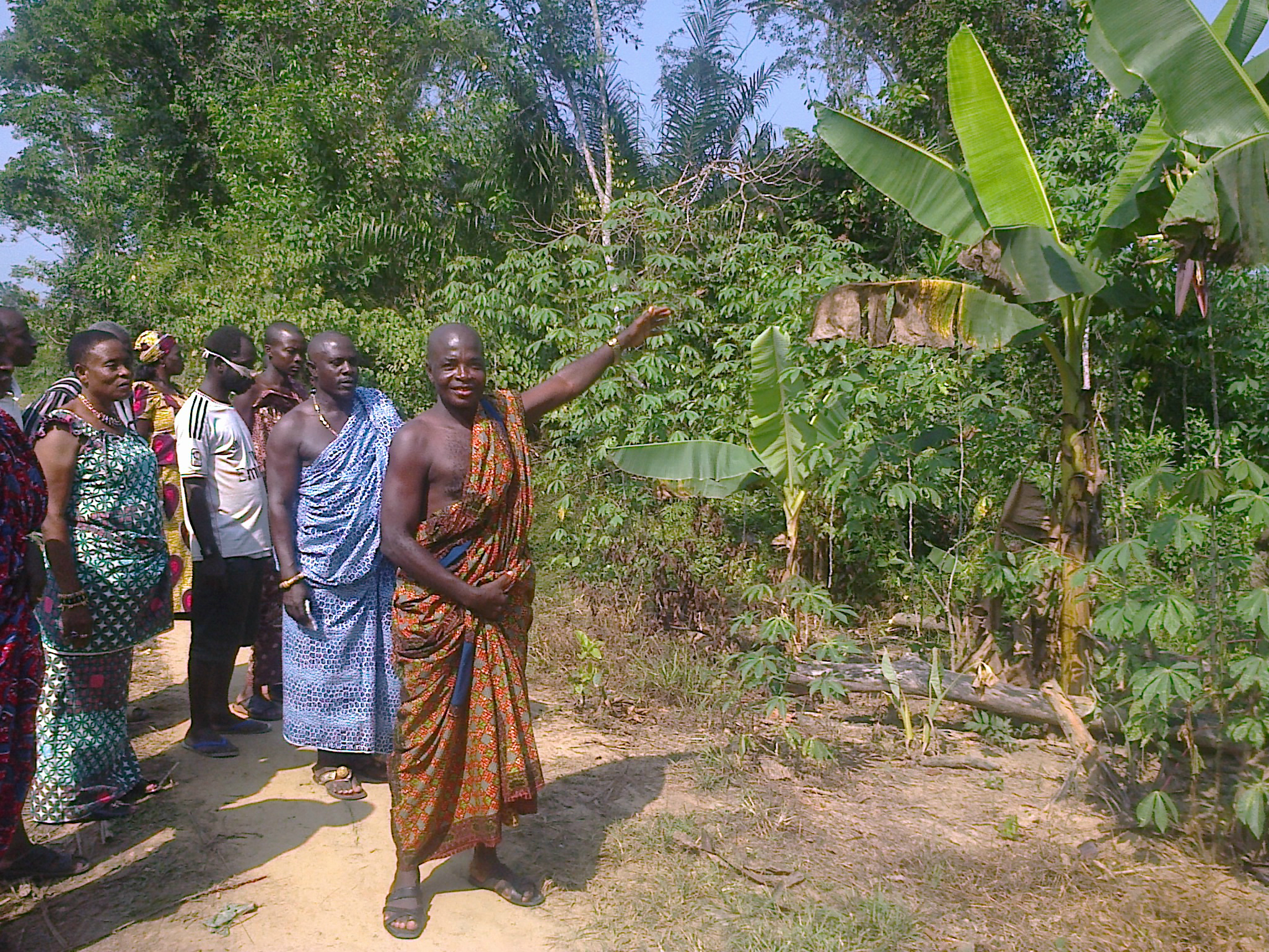 The chief of Tarkwa Breman and village elders show off the 100 acres of land to be donated for the school and clinic.