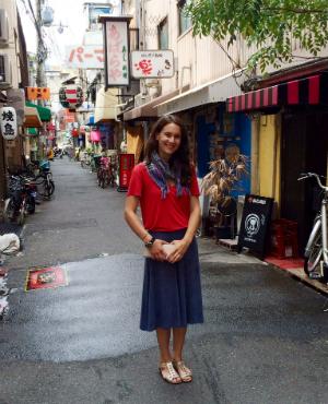Kimberly Schreiber Gallery-hopping in Osaka.