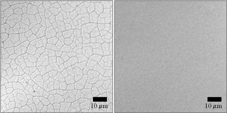 Nanoparticle films crack at certain thicknesses (left). By adding layers of thinner films, cracking can be avoided (right).