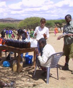 Researchers testing PTC sensitivity among the Yaaku people in Kenya