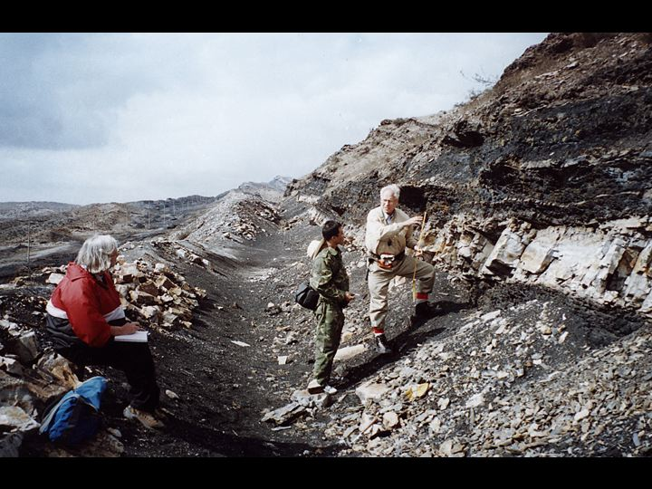 Study authors Jun Wang (center) and Hermann Pfefferkorn (right) examine the preserved ash layer before excavating the site.