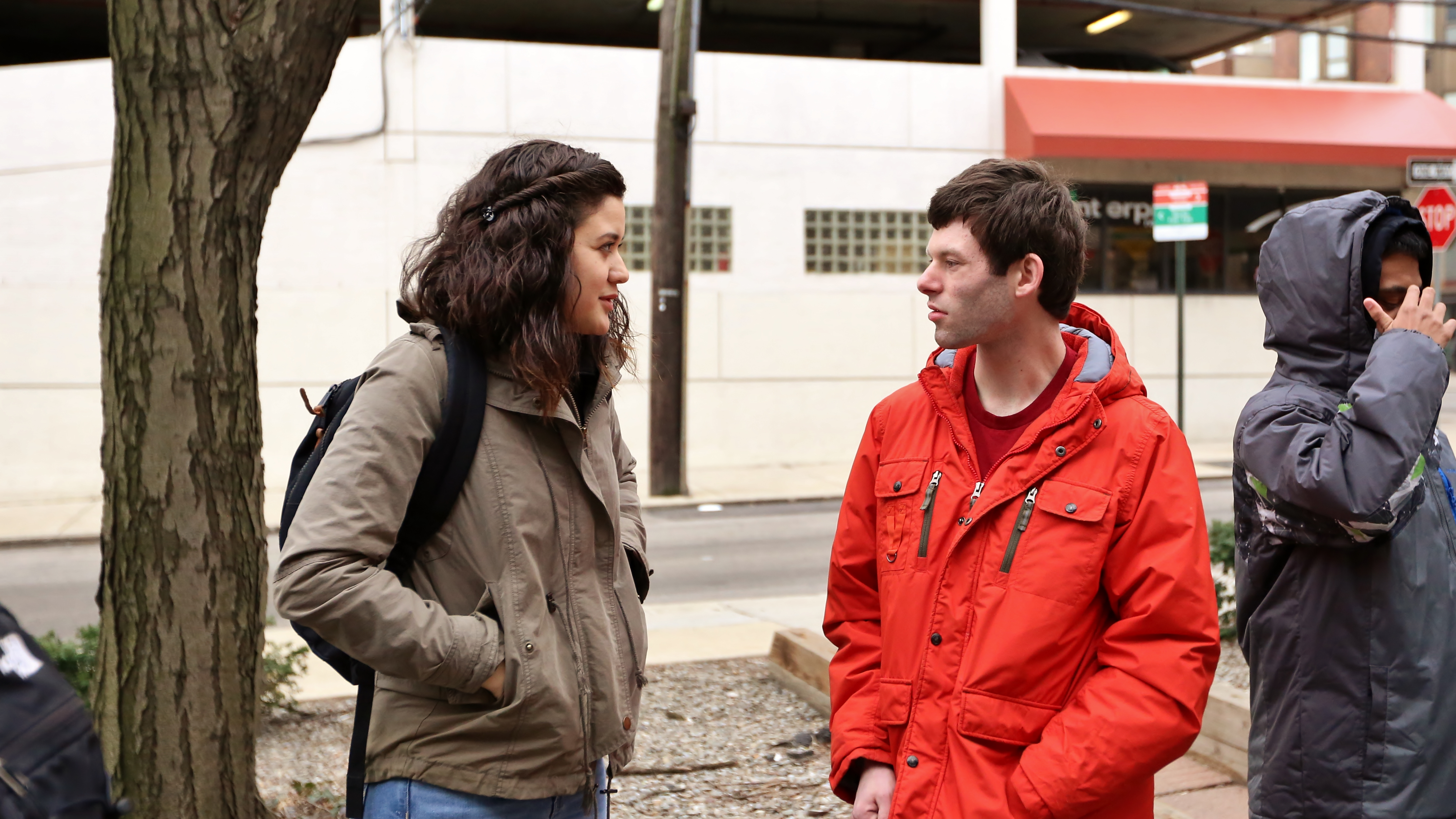 Chellsee Lee and Kyle wait for SEPTA Trolley at 36th and Sansom St.  Photo by Darryl Moran.