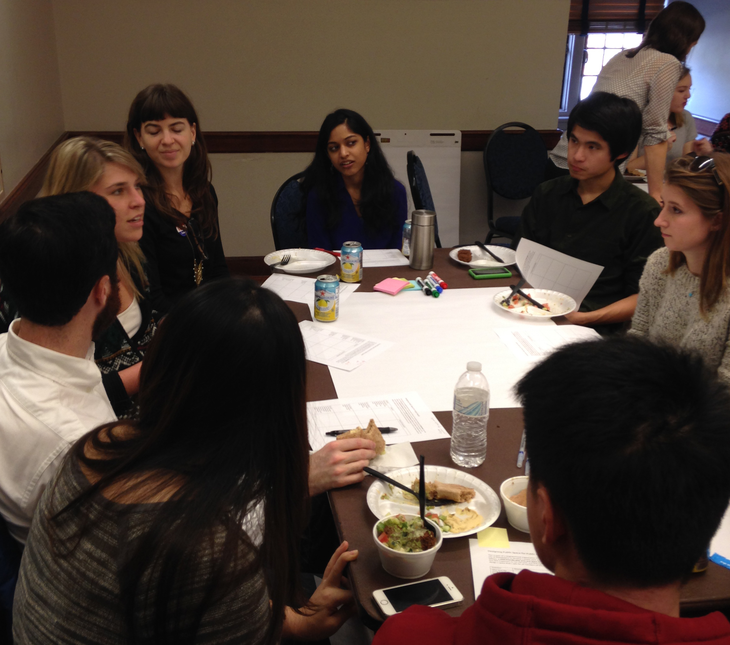 Students discuss how to plan public spaces for different purposes at a workshop led by ELISS fellows.