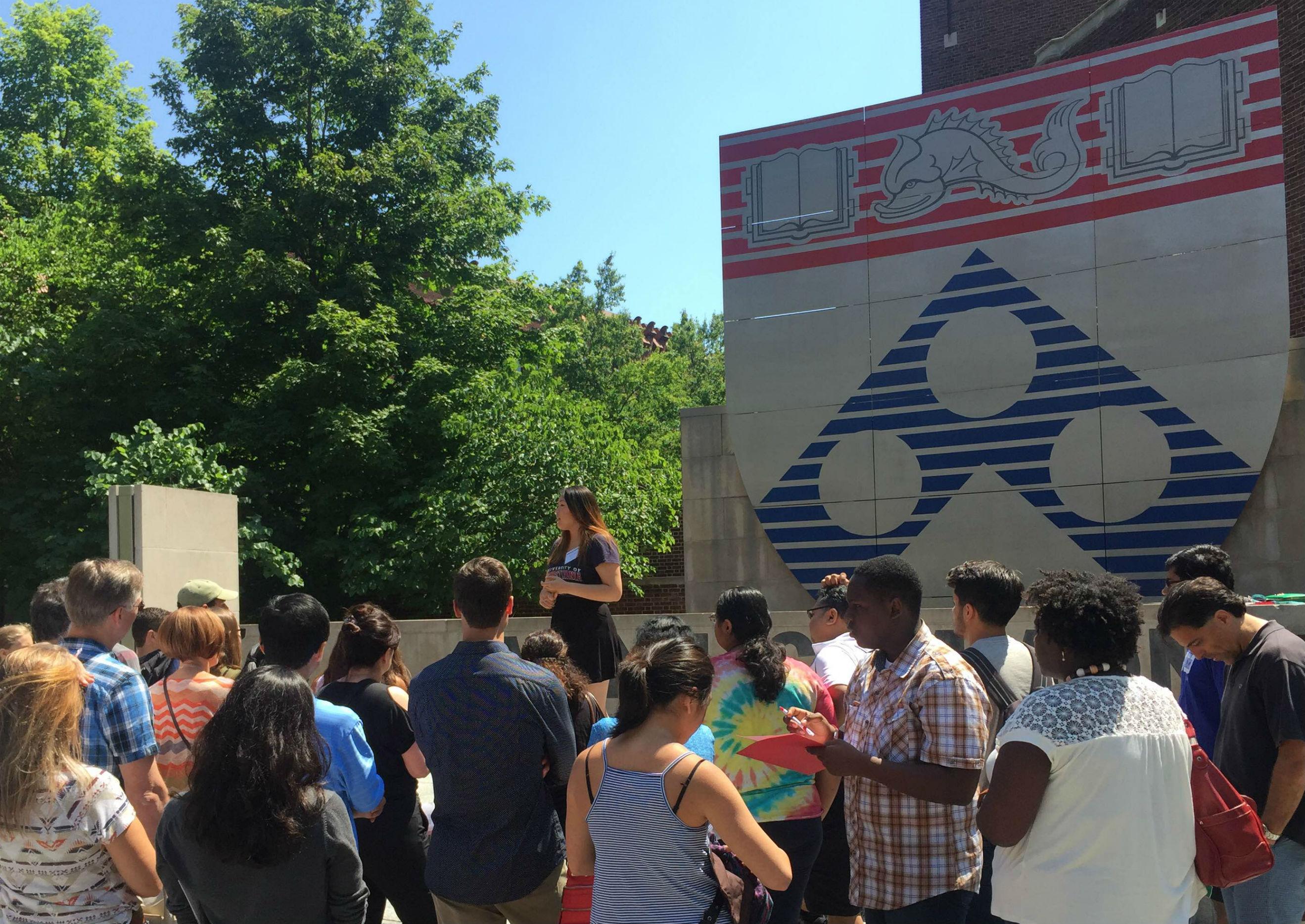Andrea Ning conducting a tour at Perelman Quad