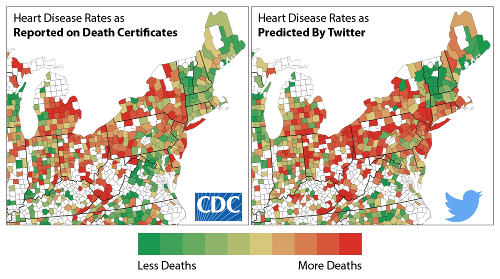 The researchers compared the language of tweets and CDC data on a county-by-county level.