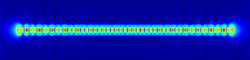 A computer simulation of a one-dimensional cavity wave in a 200nm nanowire