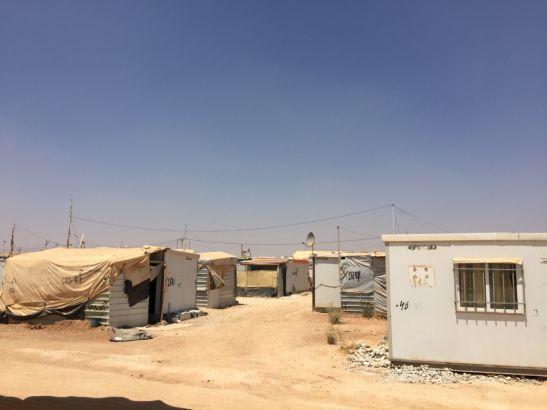 Za'atari Camp power lines and dishes