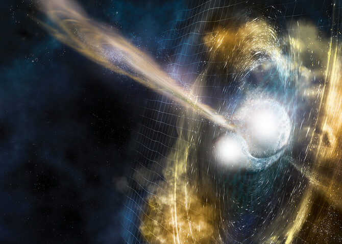 Artist's illustration of two merging neutron stars. The narrow beams represent the gamma-ray burst while the rippling spacetime grid indicates the isotropic gravitational waves that characterize the merger. Swirling clouds of material ejected from the mer