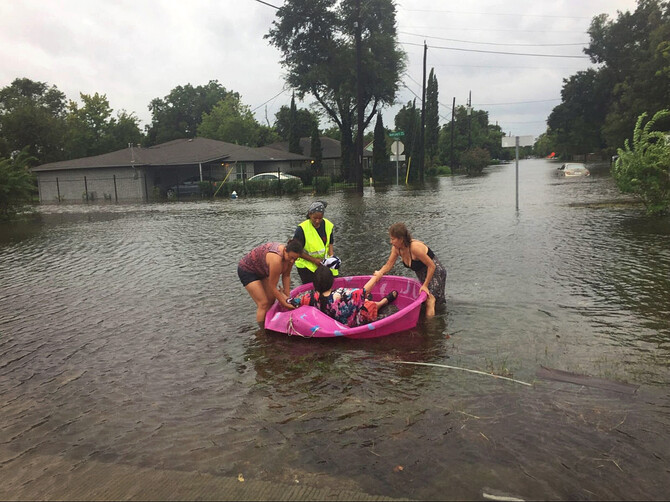 A flooded street in Houston after Hurricane Harvey.