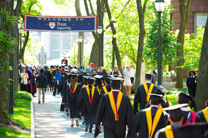 Penn graduates on a sunny, picture-perfect spring day.