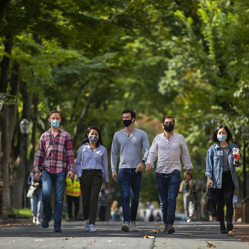 students walking on locust walk