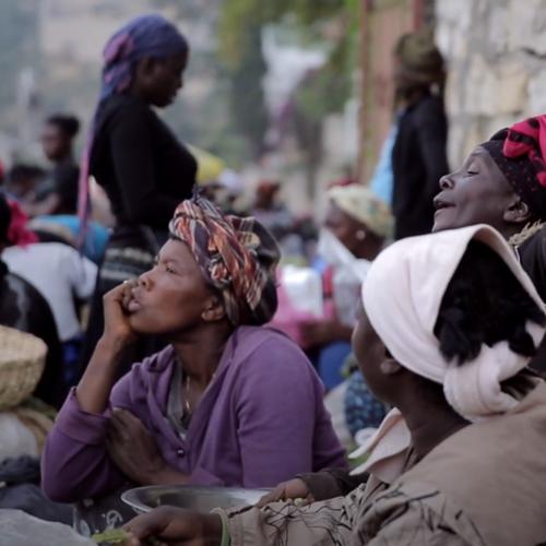 Haitian women gathered at a market
