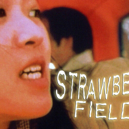 Strawberry Fields graphic with woman looking to the side anxiously