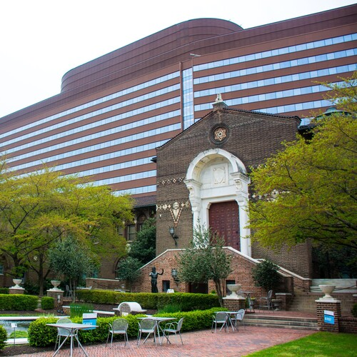 Penn Museum exterior and courtyard with seating