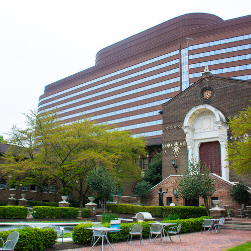 penn museum with patient pavilion in background