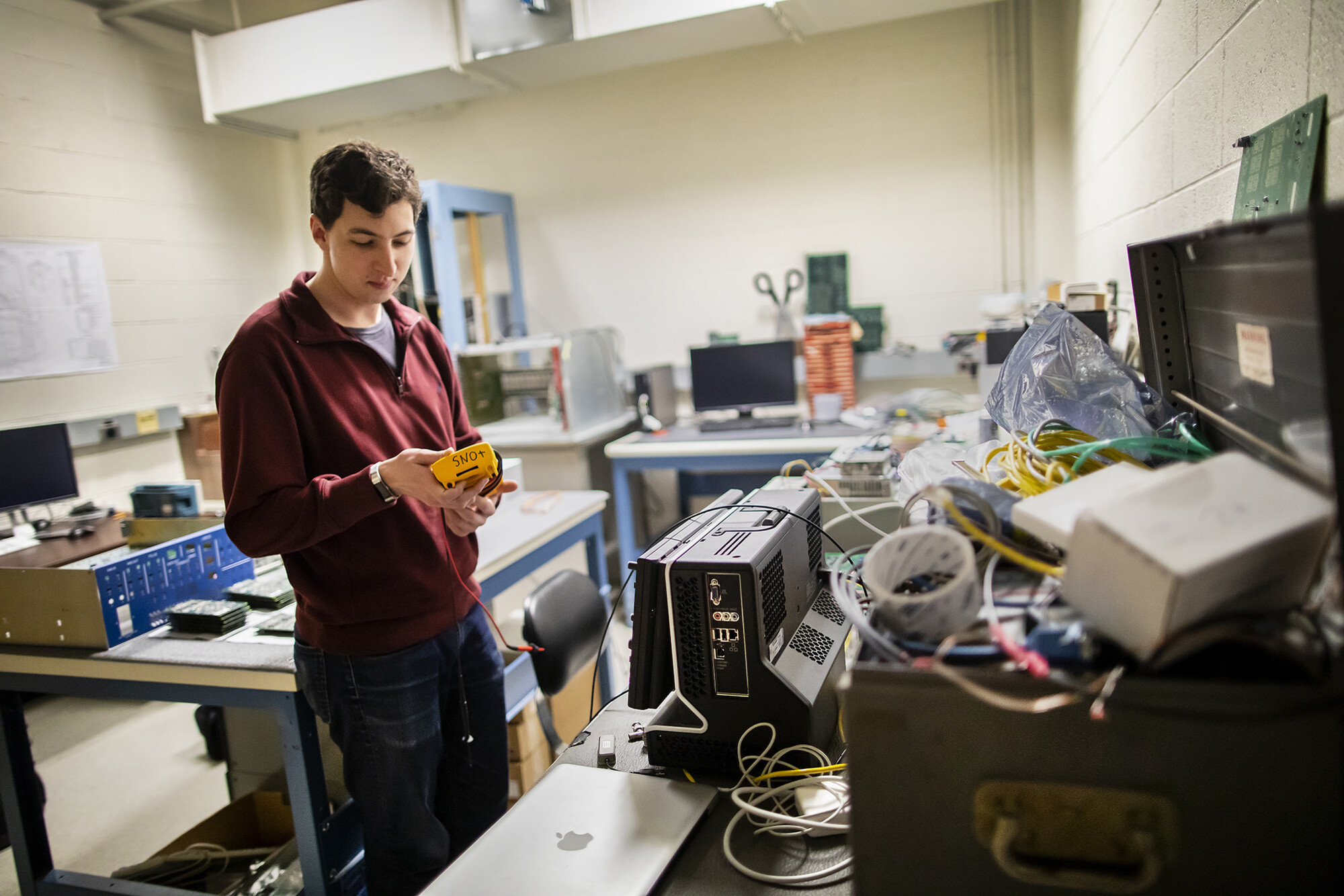 Marzec and his colleagues in the Klein lab regularly test and repair electronics for the SNO detector.