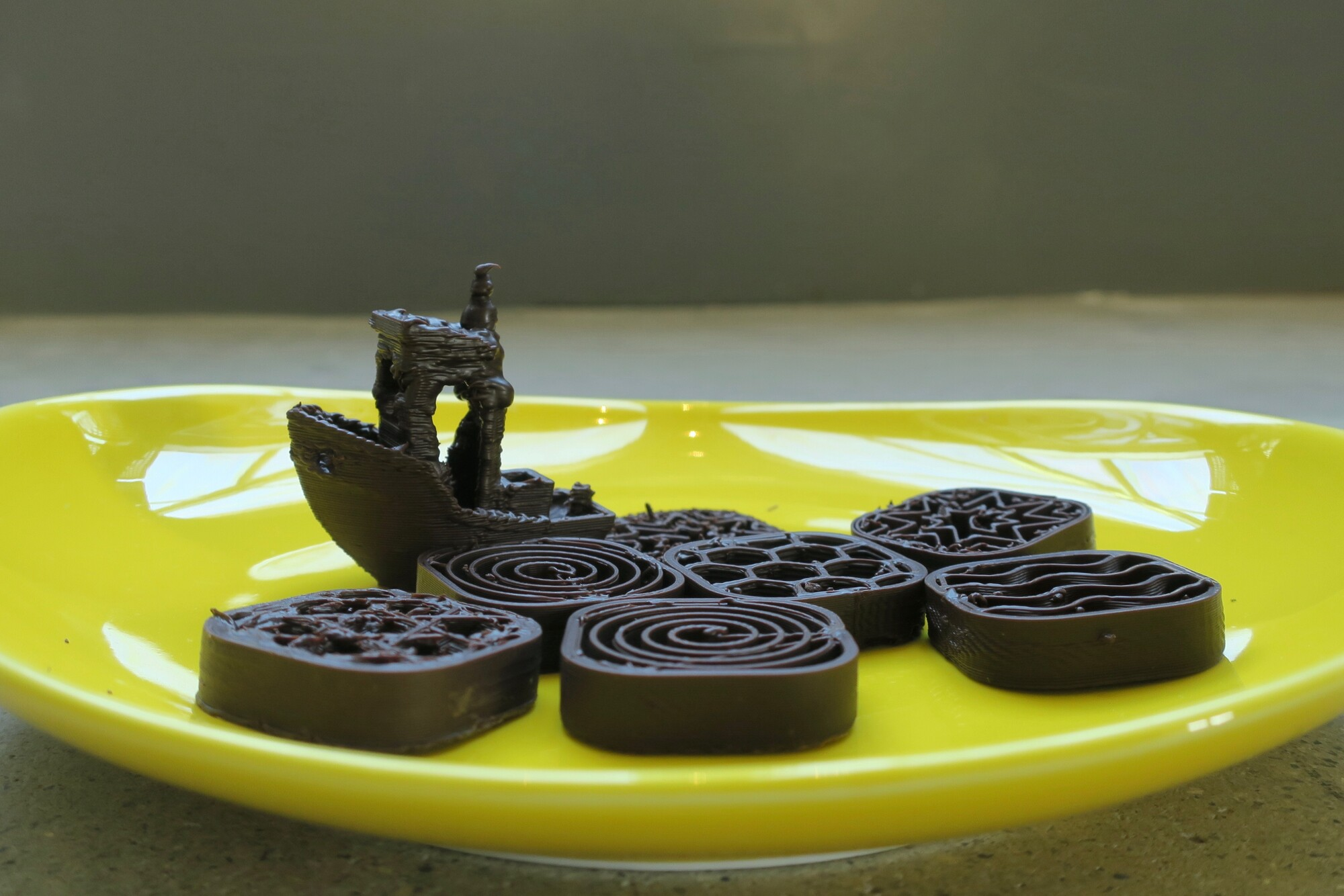 A dish of bespoke 3D printed chocolates