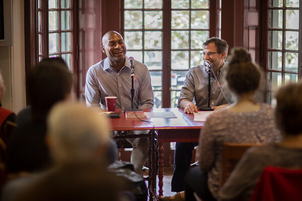New York Times columnist Charles Blow and Penn Professor Al Filreis at Kelly Writers House.