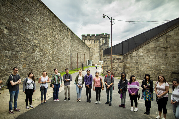 A two-week summer intensive workshop run by mindCORE focused on social and behavioral sciences, and on language science and technology, included a visit to Eastern State Penitentiary.