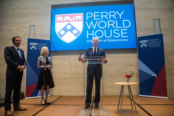 Joe Biden, Amy Gutmann, William Burke-White at Perry World House 2017 global order conference