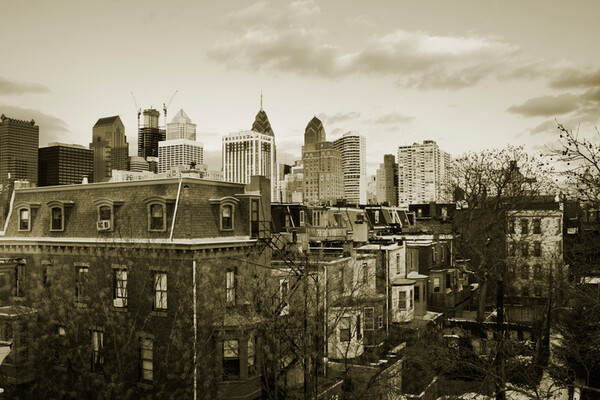 philly neighborhood with downtown skyline