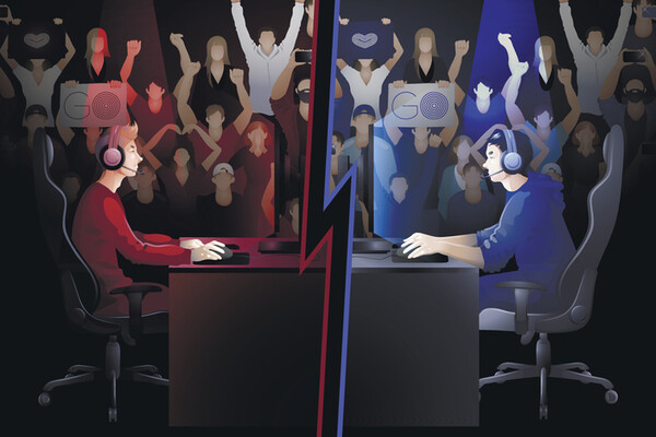 cartoon of dueling e-sport players facing each other with crowd cheering in background
