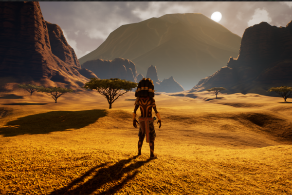 An African setting with a mountain and setting sun in the distance