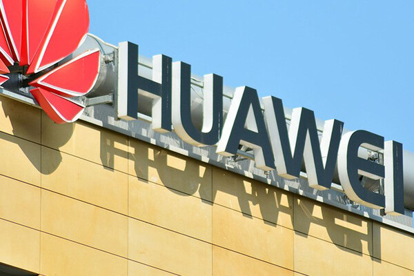 Huawei signage on top of building