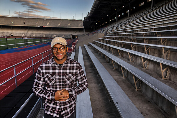 Nick Miller of the Penn football team poses in the Franklin Field stands